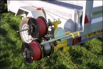 Close up of Trailer Winder electric fencing machine