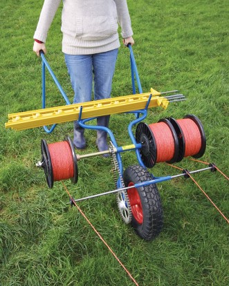 Barrow Winder - Three Line electric fencing machine reeling in